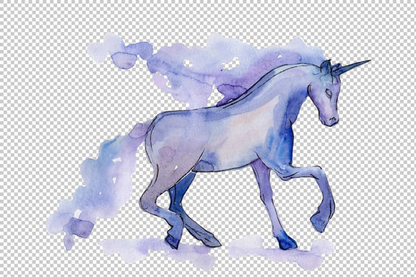 Classic unicorn image watercolor png Flower
