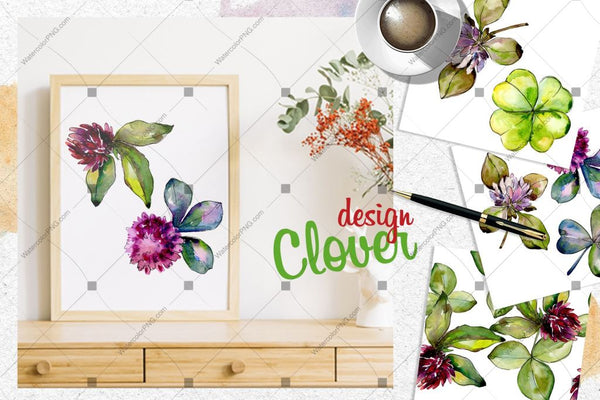 Clover Png Watercolor Set Digital