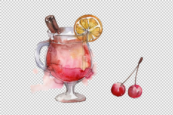 Cocktail fruit manito watercolor png Flower