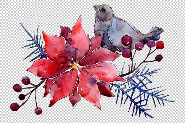 Collection Christmas miracle watercolor png Flower