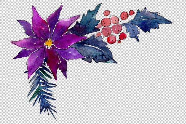 Collection of Christmas magic watercolor png Flower