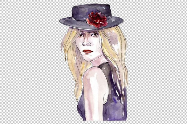 Collection of stylish accessories Lady watercolor png Flower