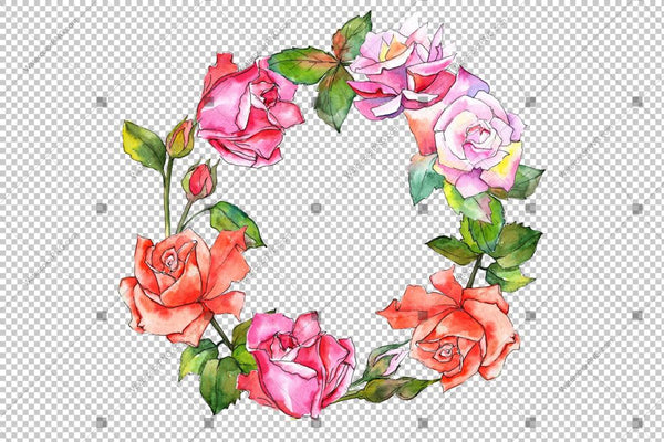 Colorful Rose Frame Wreath Flowers Watercolor Png Design