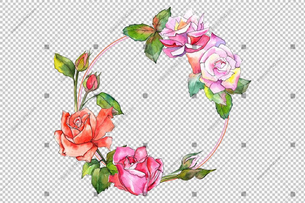 Colorful Rose Wreath Frame Flowers Watercolor Png Design