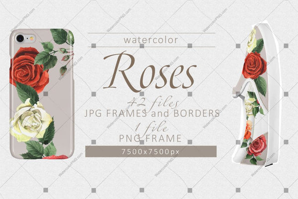 Colorful Roses Png Watercolor Set