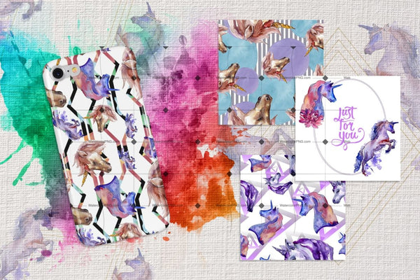 Colorful Unicorn Horse Png Watercolor Set Digital