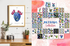 Cool Cacti Tropical Flower Png Watercolor Set Digital