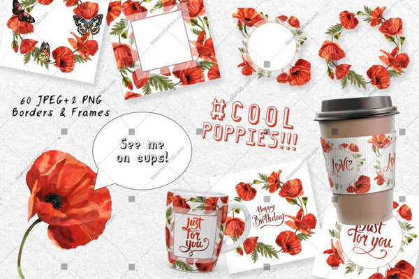 Cool Poppies Png Watercolour Set Digital