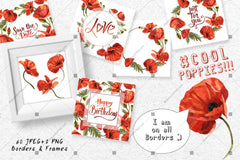 Cool Poppies Png Watercolor Set Digital