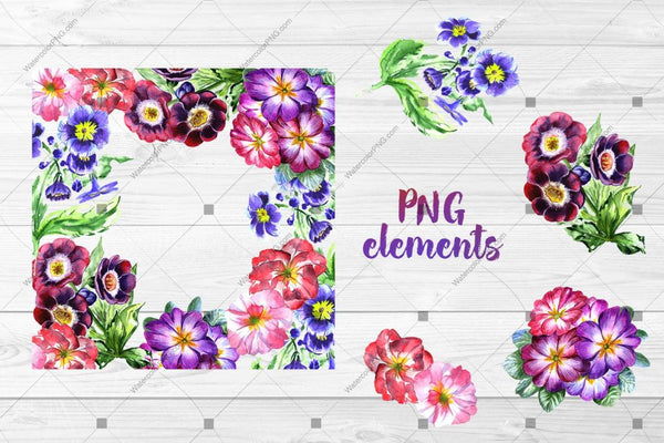 Cool Violets Png Watercolor Flower Set Digital