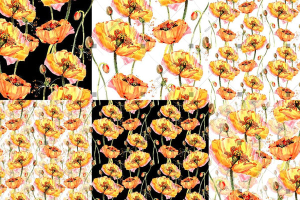 Cool Yellow Poppies Png Watercolor Set Digital