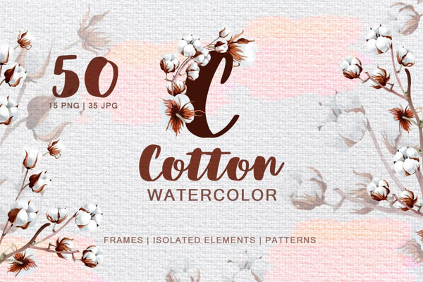 Cotton Watercolor png Digital