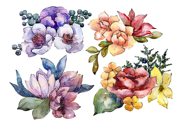 Bouquet of flowers Hugs watercolor PNG