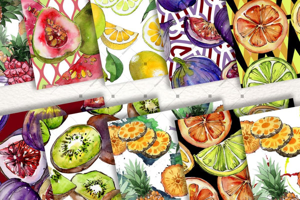 Yummy-Yummy 100 Patterns Of Fruits Jpg Watercolor Set Digital