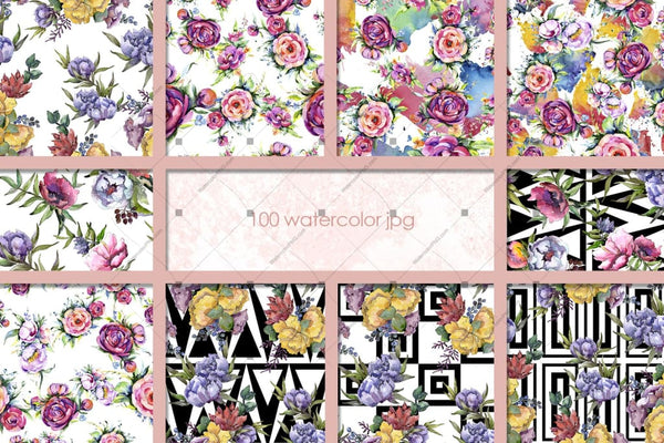 100 Patterns Of Flower Bouquets Jpg Watercolor Set Digital