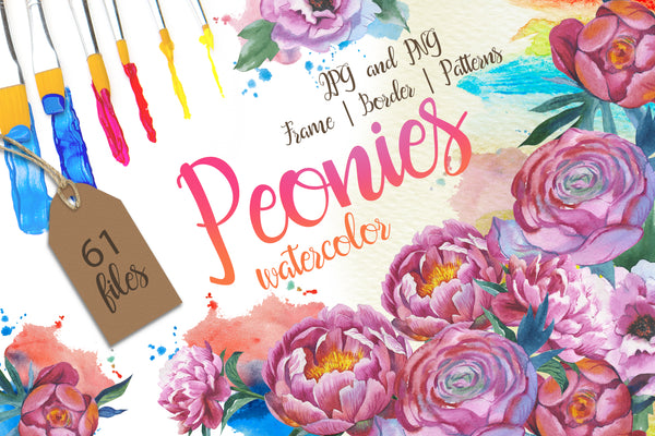 Colorful peonies JPG watercolor flower set