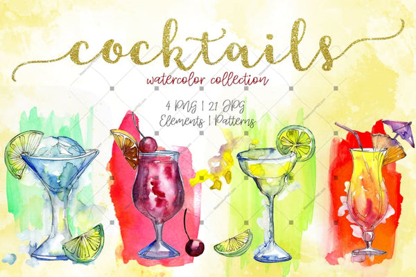 Cocktails Watercolor Collection Png Set Digital