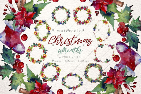 Christmas Collection Png Watercolor Set Digital