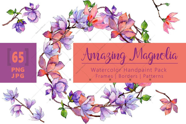 Amazing Magnolia Png Watercolor Flower Set Digital