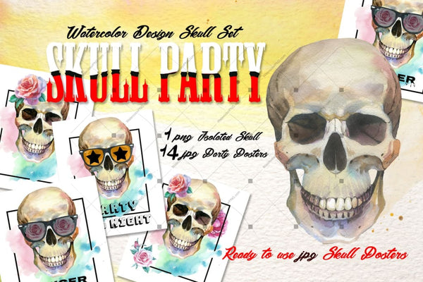Skull Party Print Png Watercolor Set Digital