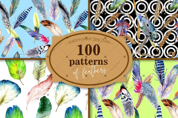 100 Pola Of Feather Jpg Watercolor Set Digital