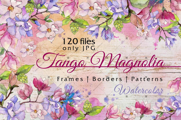 Jango Magnolia Jpg Watercolor Set Digital