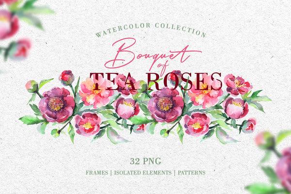 Bouquet of tea roses pink Watercolor png