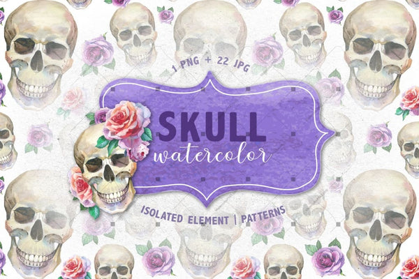 Cool Skull Print Png Watercolor Set Digital