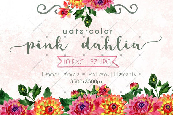Pink Dahlia Png Watercolor Set Digital