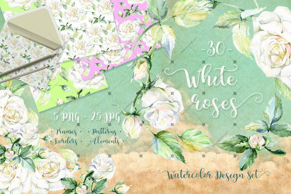 Delicate White Roses Png Watercolor Set Digital
