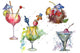 Bar party cocktail drink PNG watercolor set