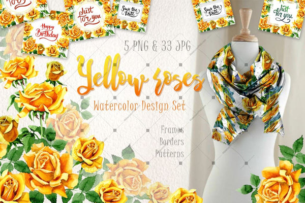 Yellow Roses Png Watercolor Set Digital