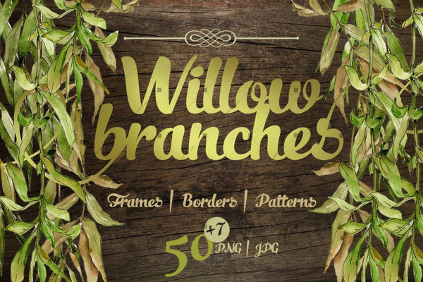 Willow Branches Jpg Watercolor Set Digital