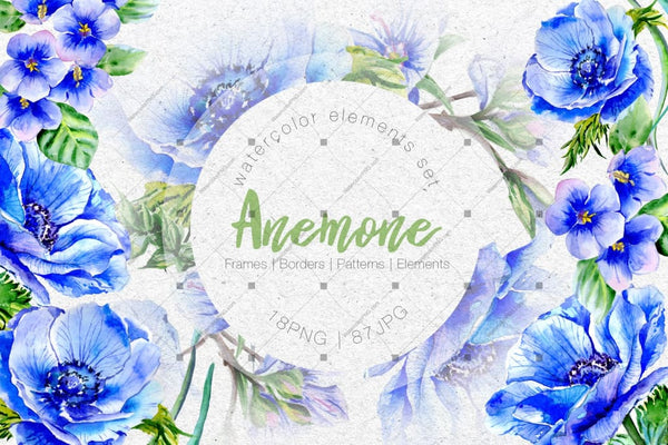 Wonderful Blue Anemone Png Watercolor Set Digital