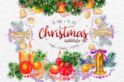 Christmas Watercolor Png Set Digital