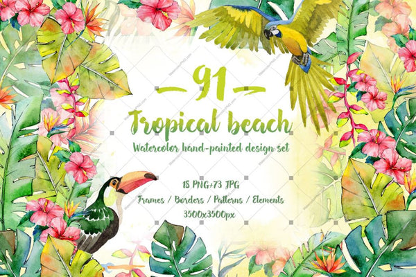 Tropical Beach Png Set acuarelă digitală