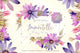 Purple immortelle PNG watercolor set
