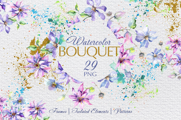 Bouquet violet Watercolor png