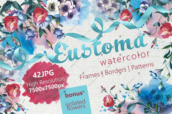 Beautiful Eustoma Jpg Watercolor Set Digital