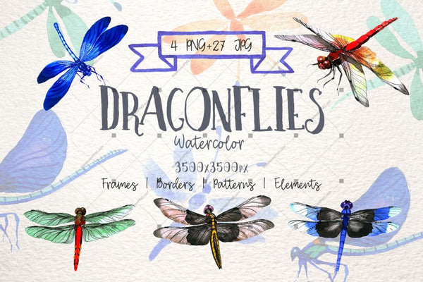 Serangga Dragonfly Png Watercolor Set Digital