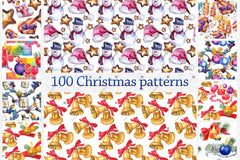 100 Pattern Of Christmas Jpg Watercolor Set Digital