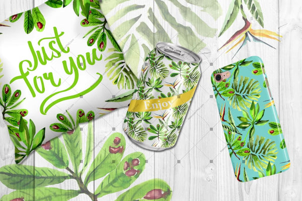 Tropical Leaves Png Watercolor Set Digital