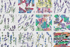 100 Patterns Of Lavender Flower Jpg Acquerello Set digitale