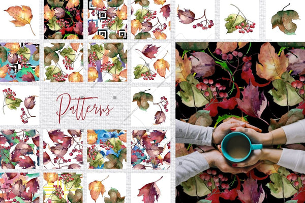 Autumn Viburnum Leaves Png Watercolor Set Digital