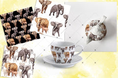 Animal Life Elephants png Watercolour Digital