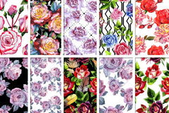 100 Patterns Of Roses Jpg Watercolor Set Digital