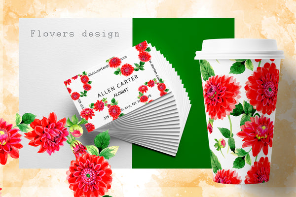 Beautiful red dahlia PNG watercolor set