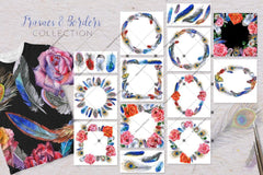 Feather Collection Png Watercolor Set Digital