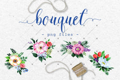 Four Wonderful Bouquet Flowers Png Watercolor Set Digital