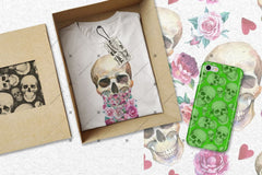 Print Skull Cool Png Watercolour Set Digital